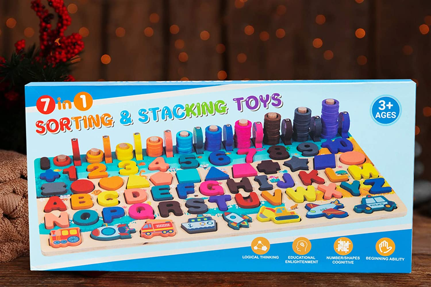 8 in 1 Wooden Vehicle Fishing Counting Blocks Sorting Toys Shape Block Educational Toys Preschool Stacking Toy Wooden Number Letter Puzzles Toddlers Montessori Toys for Kids Age 2 3 4 5 Years Old