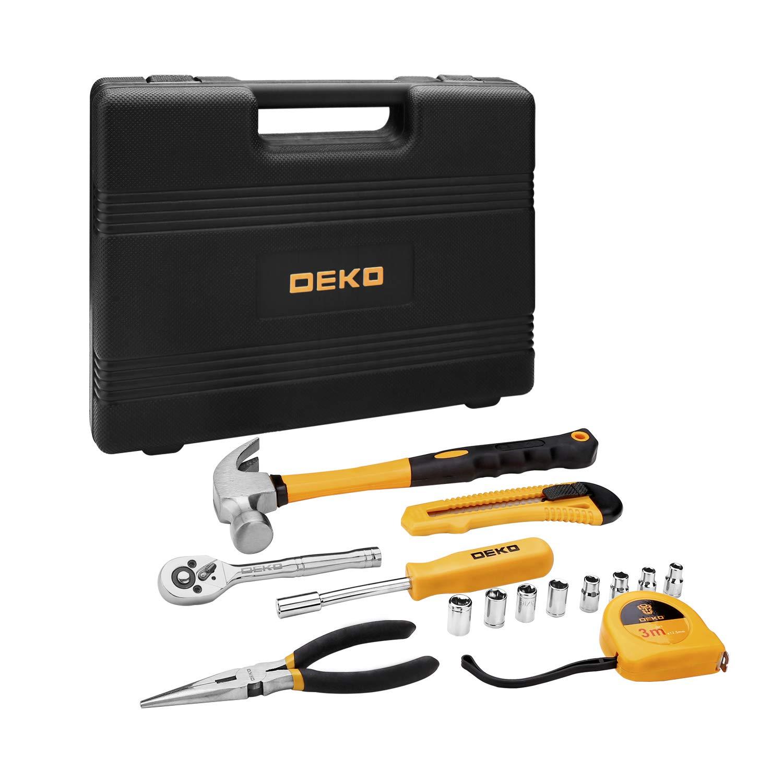 Juego de herramientas de 65 piezas DEKO Kit de herramientas de mano para el hogar en general con caja de almacenamiento de pl/ástico