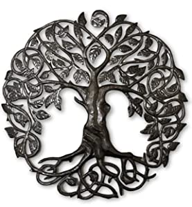 """Large Celtic Tree of Life, Large Outdoor Wall Art, Recycled Metal Haiti, 33"""" X 33"""""""