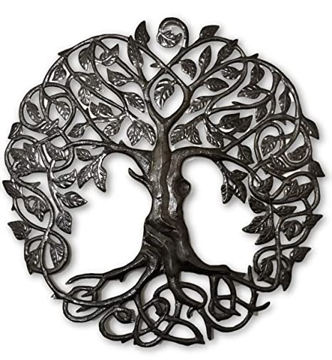 Large Celtic Tree Of Life Large Outdoor Wall Art Recycled Metal Haiti 33 X 33 Inches