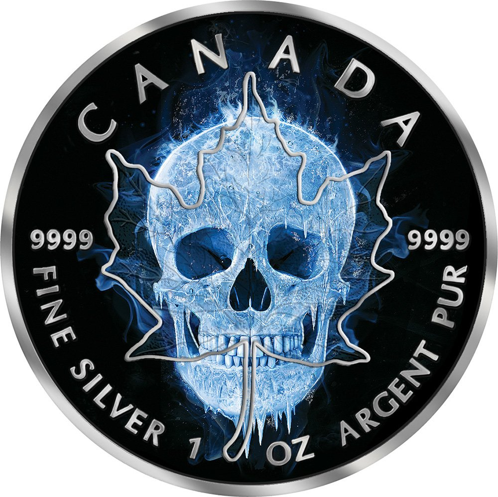 2017 CA Ice Maple Leaf ICE SKULL Maple Leaf 1 Oz Silver Coin 5 ...