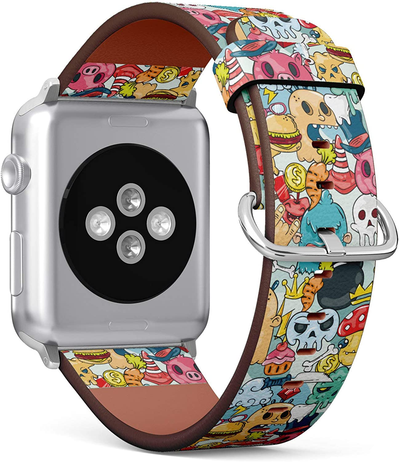(Graffiti Texture with Bizarre Elements and Characters) Patterned Leather Wristband Strap Compatible with Apple Watch Series 4/3/2/1 gen,Replacement of iWatch 42mm / 44mm Bands
