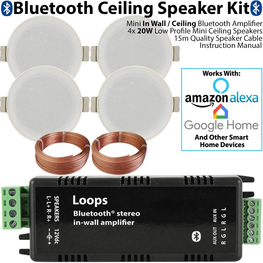 Bluetooth Ceiling Music Kit - Mini Amplifier & 4x Low Profile Ceiling Speakers - Stereo HiFi Wireless Background Sound System – Café, Restaurant, Home Cinema, Pub, Shop Loops 3344