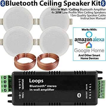 Bluetooth Ceiling Music Kit - Mini Amplifier & 4x Low