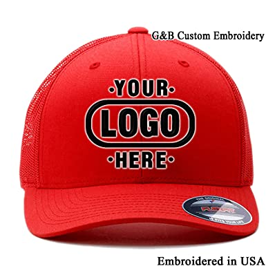 Yupoong Custom Trucker Hat 6511. Embroidered. Your Own Logo Curved Brim  Mesh (Red a160d62995a6