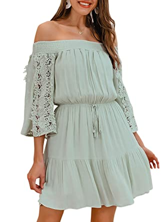 6353a831ec Fashiomo Women s Off Shoulder Flare Sleeve Mini Dress Pleated Ruffle Summer  Swing Dress Light Green