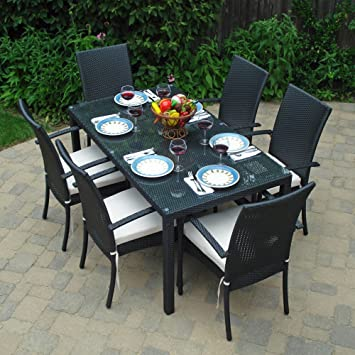 Lovely Turks Outdoor Wicker Patio Furniture Dining Set With Clear Glass With Ivory  Cushions Amazing Pictures