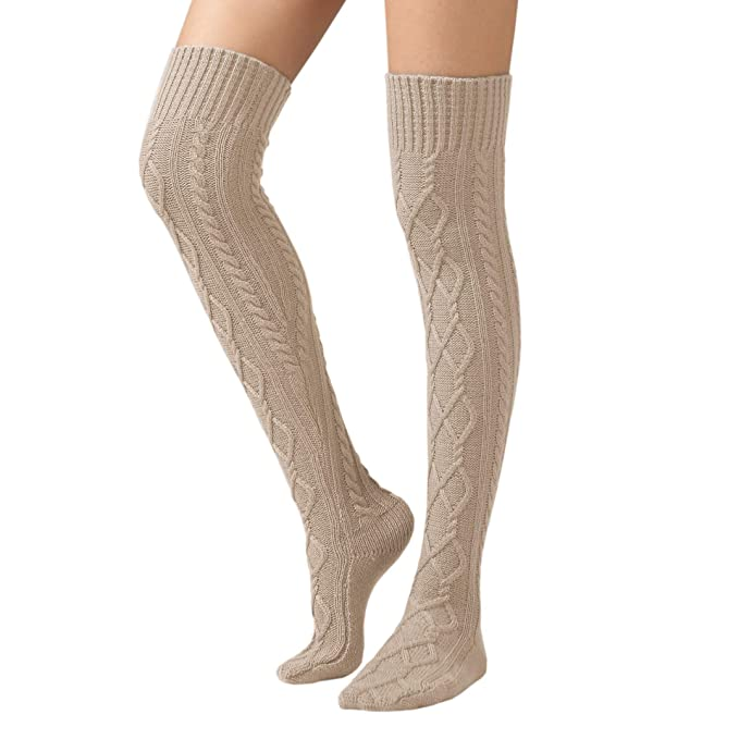 b986c429976 SherryDC Women s Cable Knit Boot Stockings Extra Long Thigh High Leg Warmers  Winter Floor Socks Beige
