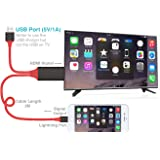 Cavo HDMI TV DI iphone, plug and play, fulmini iPhone a HDMI cavo del display HDTV adattatore AV digitale trasmettere audio e video Home Cinema per iPhone 7 7 Plus 6S 6S Plus 6 6 Plus 5 5 C 5S se, iPad Air/Mini/Pro, iPod Touch 5th/6th (senza applicazione di bisogno, non c'è bisogno di più impostazione)
