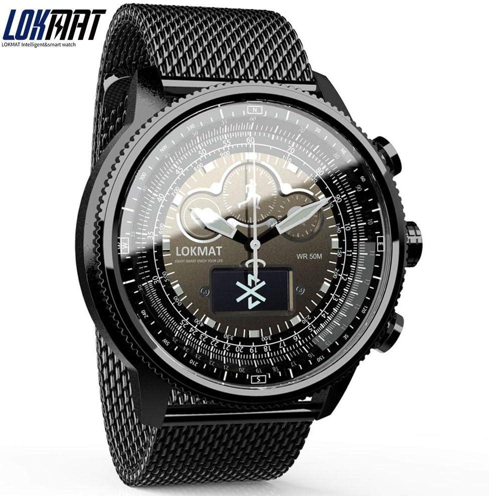 LOKMAT - Reloj inteligente con Bluetooth, resistente al agua, podómetro, recordatorio de información digital para hombre, reloj inteligente para iOS y Android (correa de metal plateada)