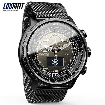 8991ee438 Amazon.com: LOKMAT Bluetooth Smart Watch Sport Waterproof pedometers  Information Reminder Digital Men Clock smartwatch for iOS Android Phone  (Metal Strap ...