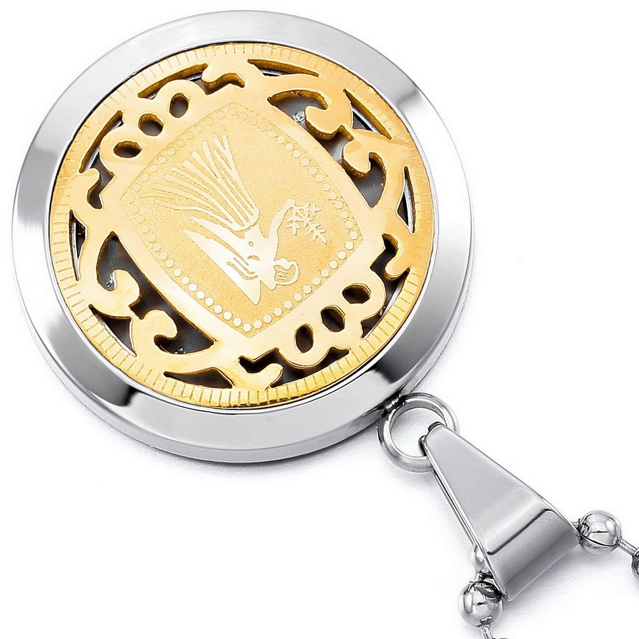 MeMeDIY Argento Oro Due Tono Acciaio Inossidabile Pendente Ciondolo Collana Zodiaco Zodiaco Zodiac,Catenina Lunga 58 cm Inclusa Personalizzato Incisione