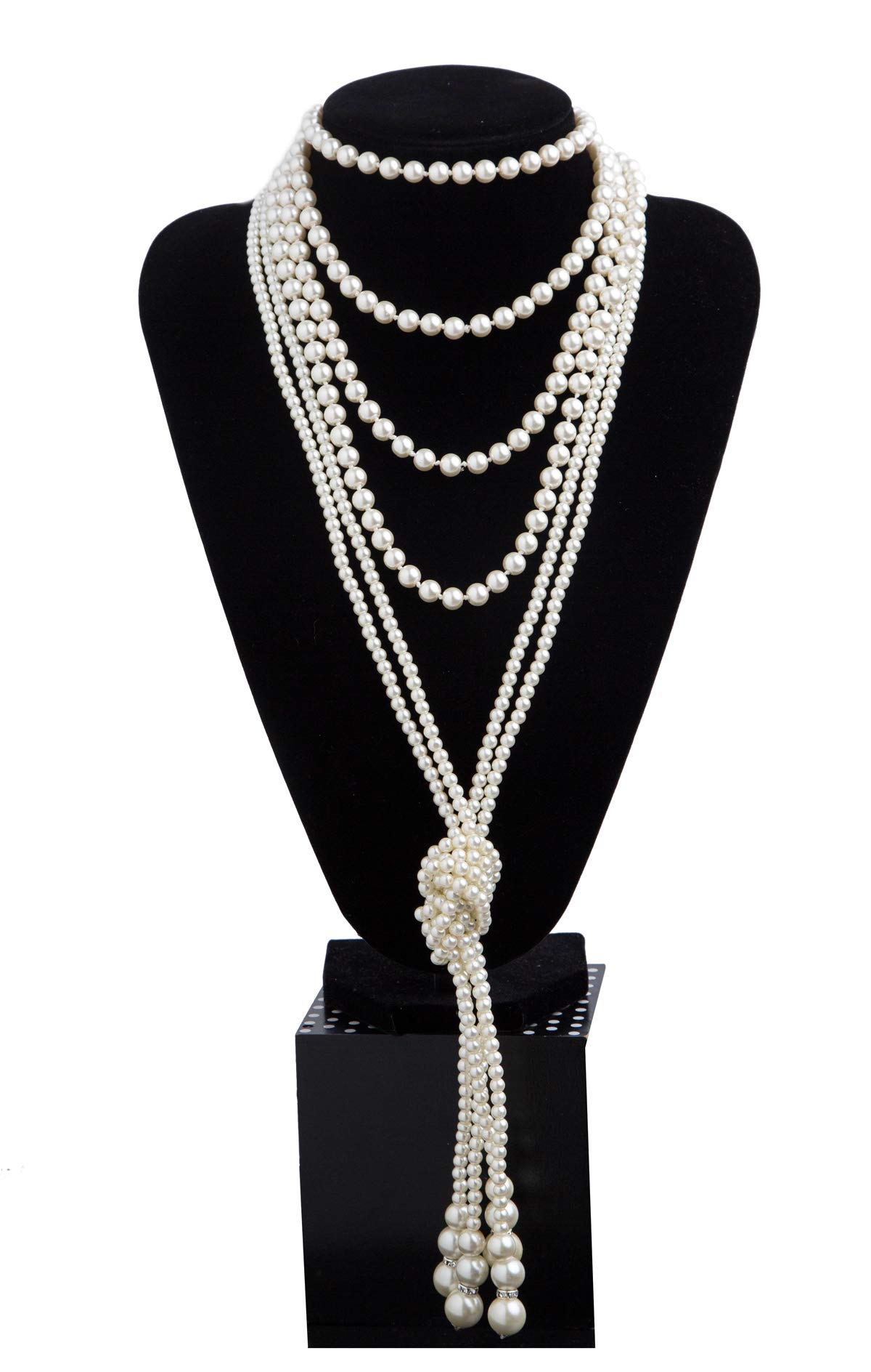 1920s Pearls Necklace Fashion Faux Pearls Gatsby Accessories Vintage Costume Jewelry Cream Long Necklace for Women (B-Knot Pearl Necklace2 + 59'' Necklace1-White)