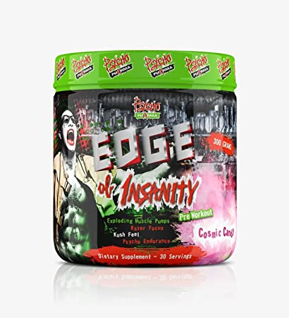 Edge of Insanity Pre-Workout – Exploding Muscle Pumps, 300 Grams Cosmic Candy Pre Workout