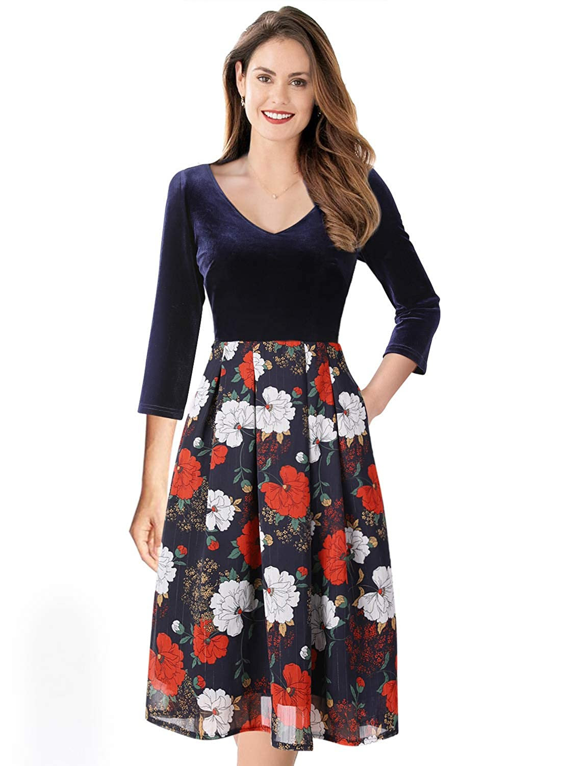 bluee and Multi Floral Print VfEmage Womens Vintage Summer Polka Dot Wear To Work Casual Aline Dress