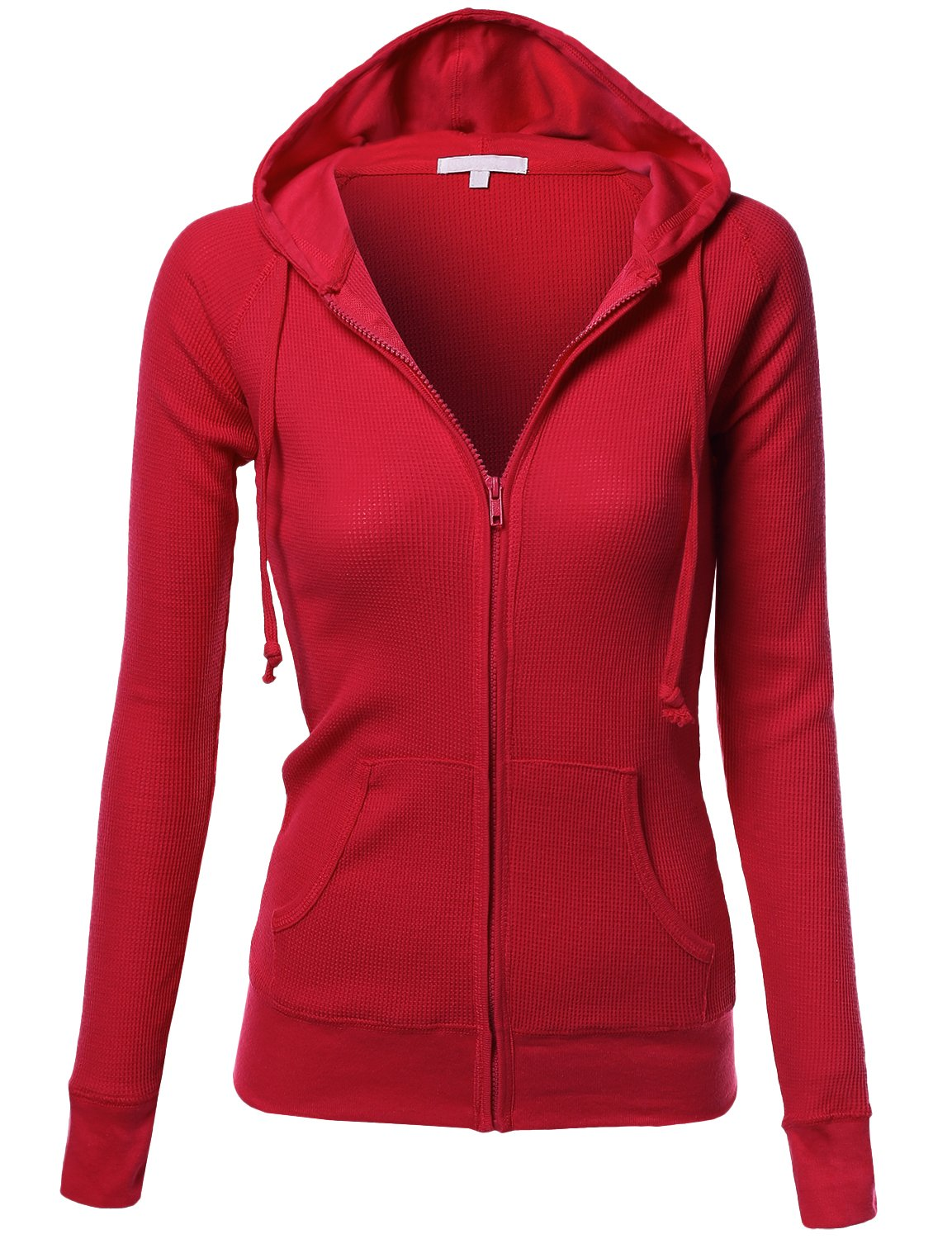 Xpril Basic Slim Fit Lightweight Zipper Drawstring Hooded Jackets Red Size S