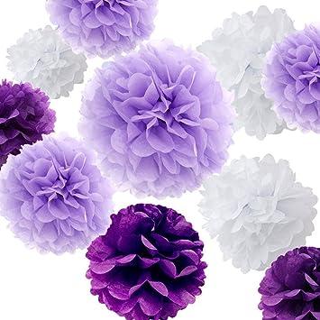 Amazon fonder mols 12pcs party tissue paper pom pom flowers fonder mols 12pcs party tissue paper pom pom flowers craft kits rustic purple and white mightylinksfo