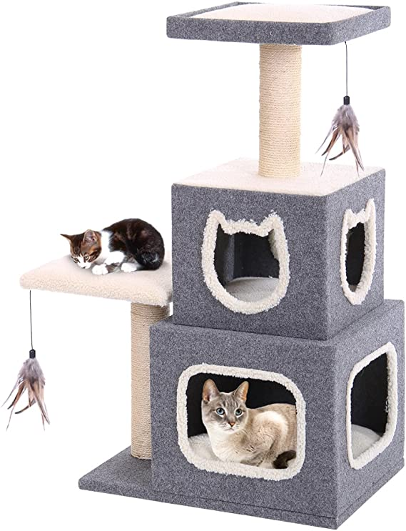 Penn Plax Two Story Cat Condo With Scratching Post And Perches 36 8 Lb Catf28 Pet Supplies