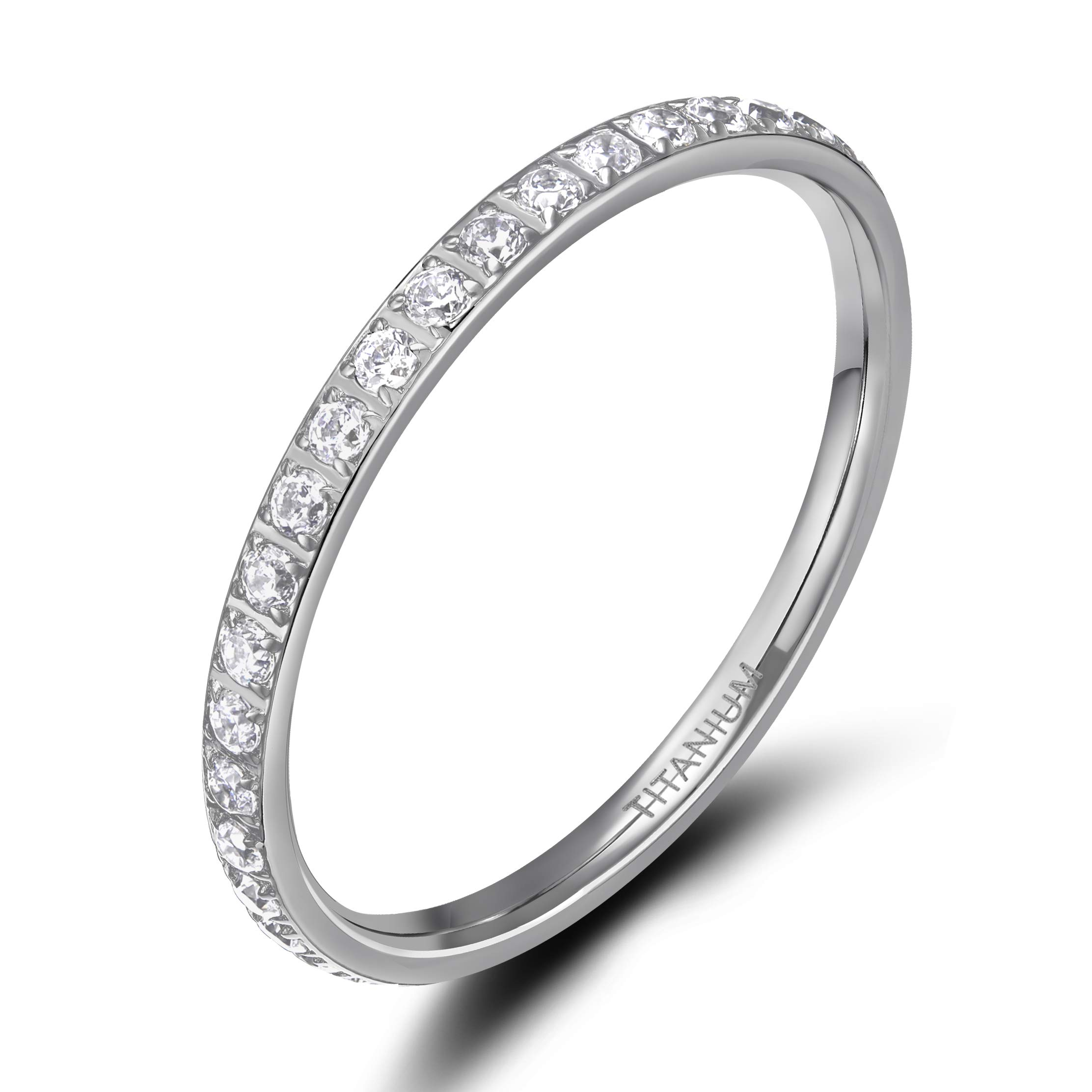 TIGRADE 2mm Women Titanium Eternity Ring Cubic Zirconia Anniversary Wedding Engagement Band Size 3-13, Silver, Size 7 by TIGRADE