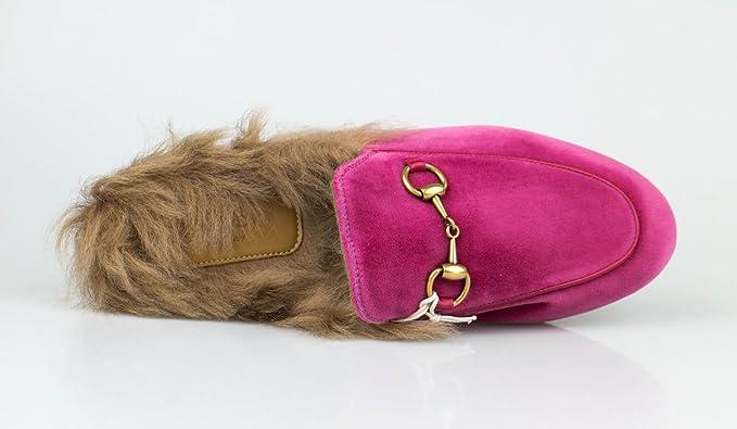 8220548963 Amazon.com : .Gucci. Princetown' Pink Velvet W/Leather & Fur Mules ...