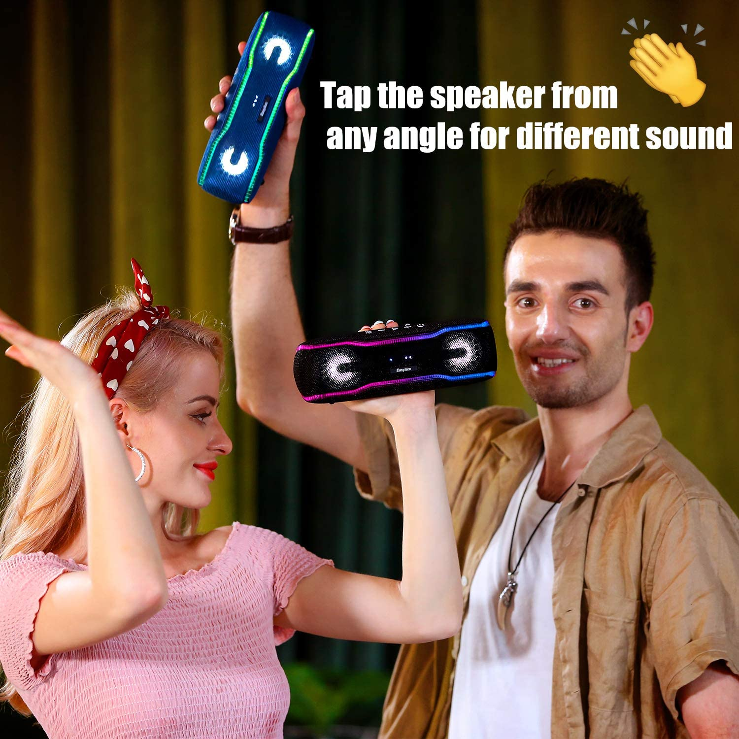 Portable Bluetooth Speaker EasyAcc IPX7 Waterproof Wireless Party Speaker with Dual 10W Stereo Sound Enhanced Bass Built-in Mic Hands-Free Call Tap Booster Black 66ft Connection Range