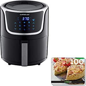 GoWISE USA GW22966 Fryer & Dehydrator Electric Air Fryer with Digital Touchscreen + Recipe Book, 5-QT, Black/Silver