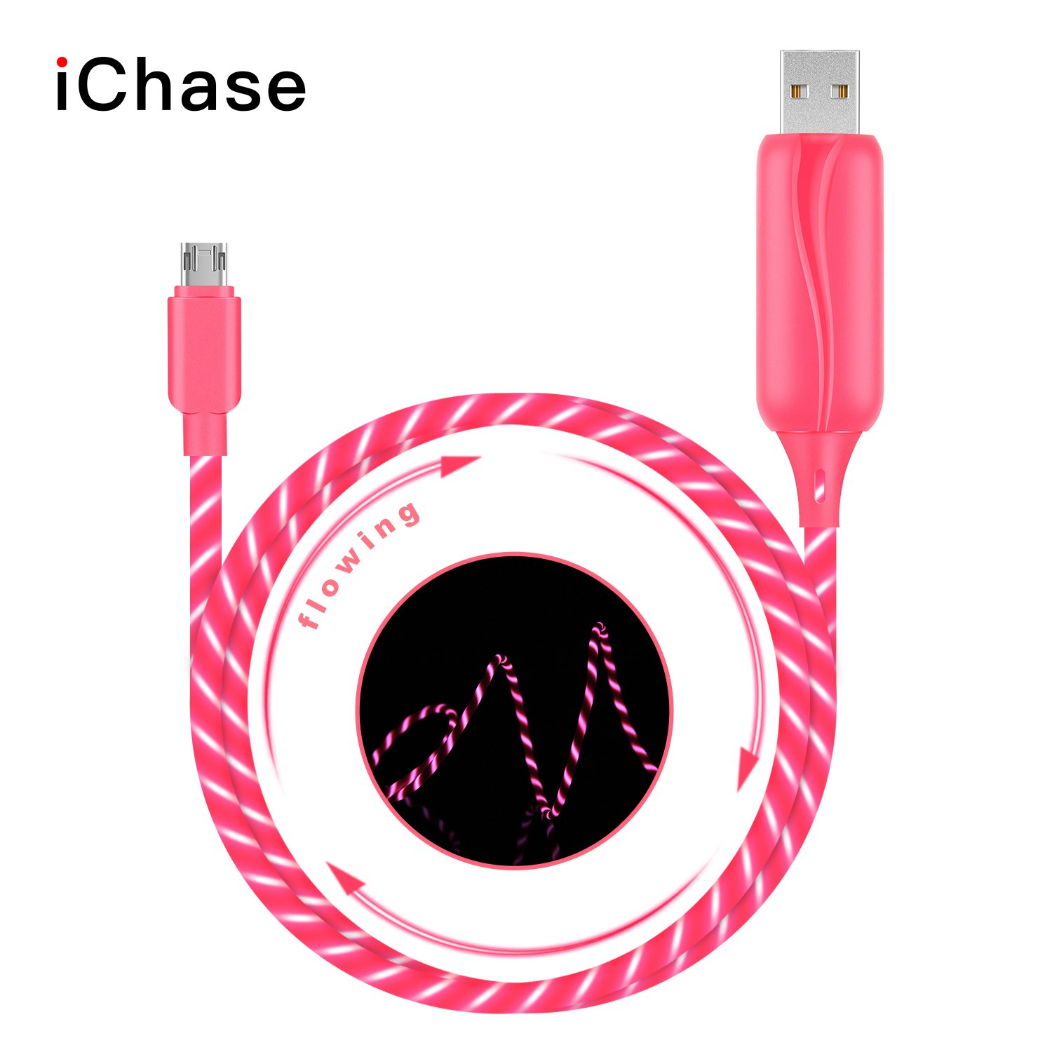 iChase LED Micro USB Cable, Updated 3ft 360 Degree Visible Flowing EL Light Up 180 Degree Double-Sided Plug Fast Charger Cable for Samsung ,HTC, Motorola, Sony and More Android Devices (Pink)