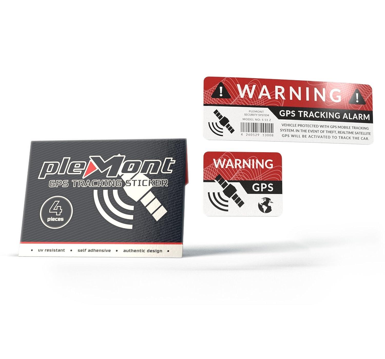 Plemont 4er Set GPS Aufkleber Warnaufkleber für Auto, LKW, Wohnmobil zum Diebstahlschutz, Diebstahlsicherung - Hochwertige GPS Sticker - Alarm Autoaufkleber
