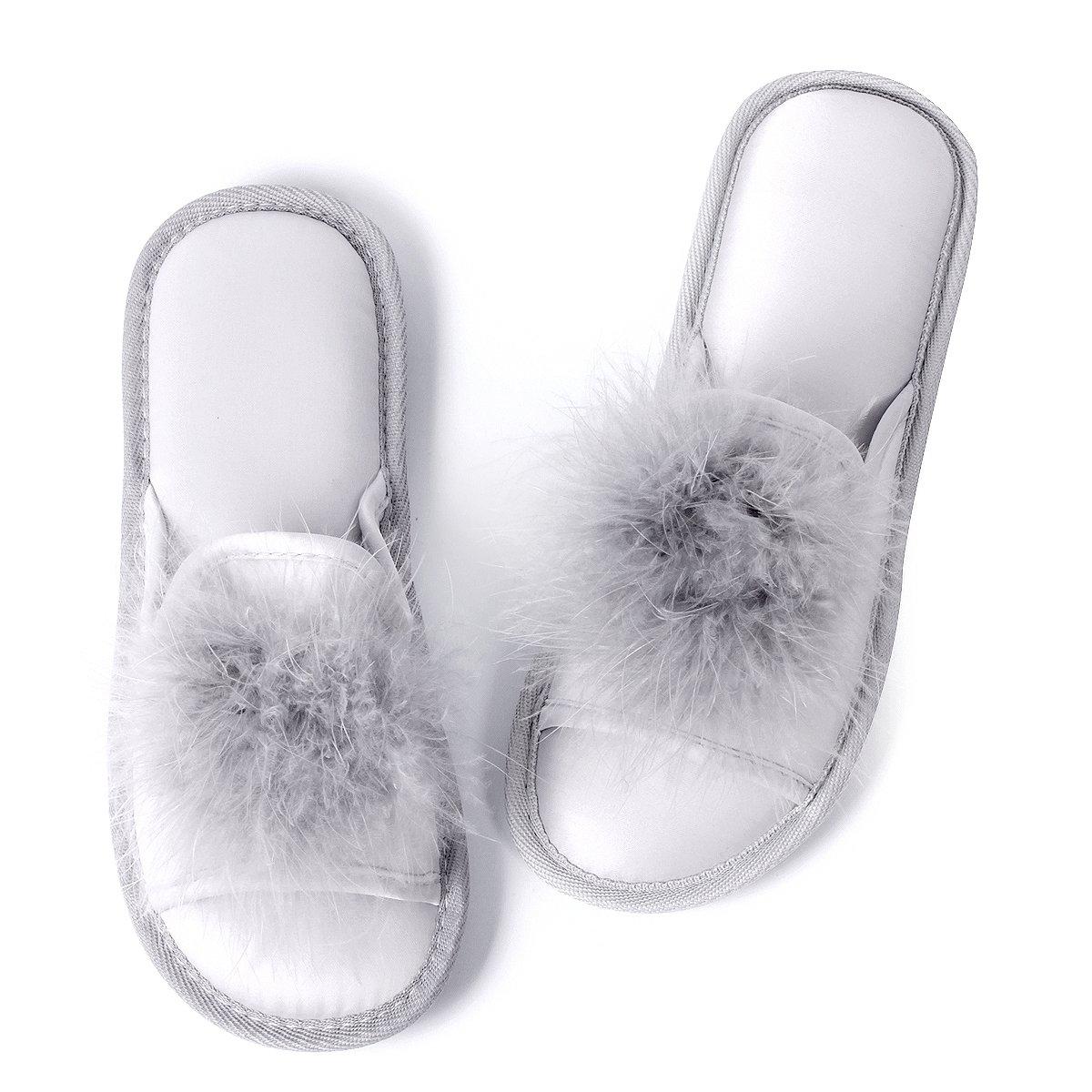 Women Open Toe Slippers| Pom Pom Fur Slippers | House Slide Clog| SliponIndoor Outdoor Shoes | Memory Foam Anti-Slip Sole (8-9, Silver Pom) by Caramella Bubble (Image #1)