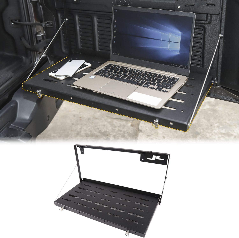 Black JeCar Tailgate Table Rear Foldable Cargo Shelf Aluminum Alloy Storage Shelf for 2018 2019 2020 Jeep Wrangler JL JLU