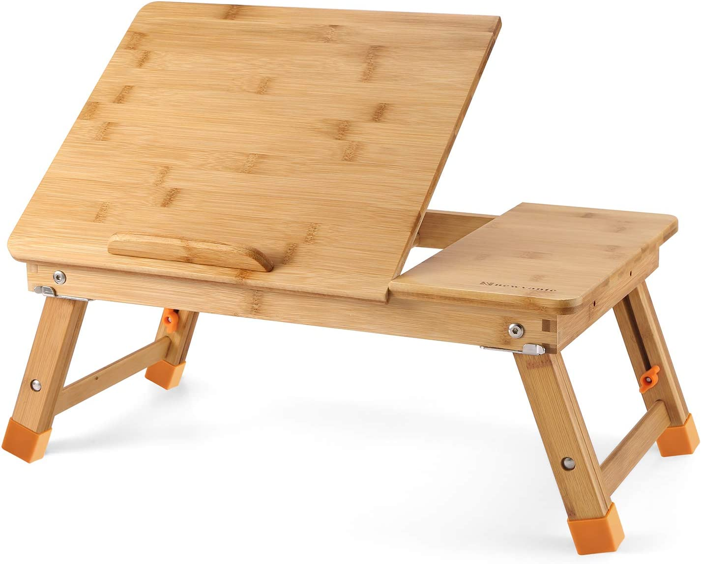 Nnewvante Lap Desk Bed Tray Table Kid-Size Adjustable 100% Bamboo Portable Breakfast Serving Lap Table w' Tilting for Reading Writing Playing