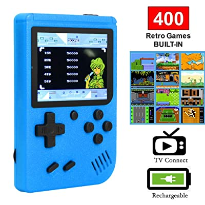 Ruorin 3 inch Handheld Retro FC Game Console 400 Games 8 Bit Game Player (Blue): Computers & Accessories