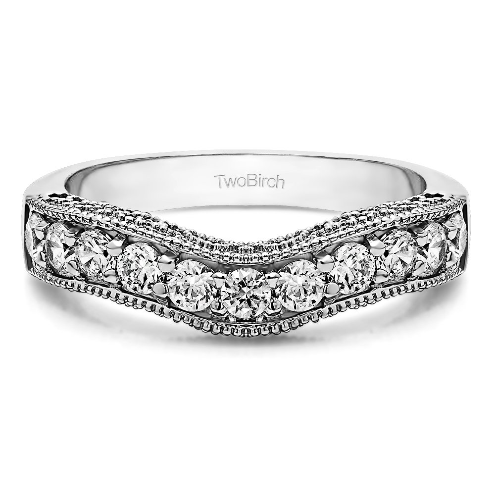 CZ Vintage Filigree & Milgrained Wedding Band set in Silver (0.75 Ct. Twt.) with 0.75 cts of CZ in Silver