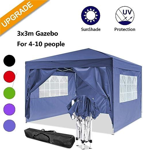 Cenador plegable 3 x 3 m / 3 x 6 m, resistente al agua, para jardín, para fiestas, festivales, gazebo plegable, protección solar., color azul, tamaño 3 x 3 m: Amazon.es: Jardín