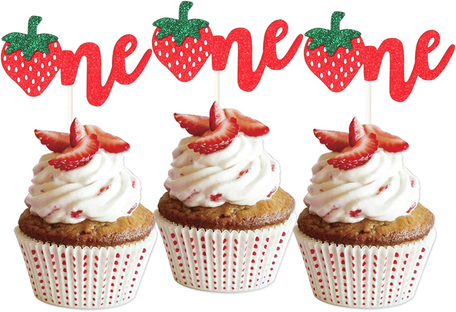 LILIPARTY 24Pcs Glitter Strawberry One Cupcake Toppers Fruits Theme Party Dessert Cupcake Picks for Summer 1st Birthday Wedding Party Baby Shower Summer Garden Party Decoration Supplies