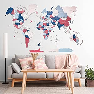 Home Decor 3D Wood World Map Bubble Gum color Wall Art. Large Wall Decor - World Travel Map All Sizes (M L XL XXL) Any Occasion Gift Idea - Wall Art For Home & Kitchen or Office