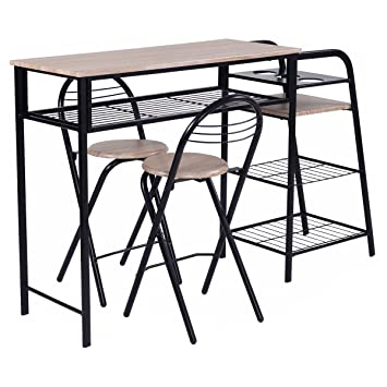 Giantex 3 PC Pub Dining Set Table Chairs Counter Height Home Breakfast w/Storage Shelves  sc 1 st  Amazon.com & Amazon.com - Giantex 3 PC Pub Dining Set Table Chairs Counter Height ...