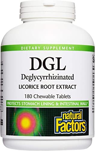 Natural Factors, Chewable DGL 400 mg, Licorice Root, Vegan, 180 tablets 180 servings