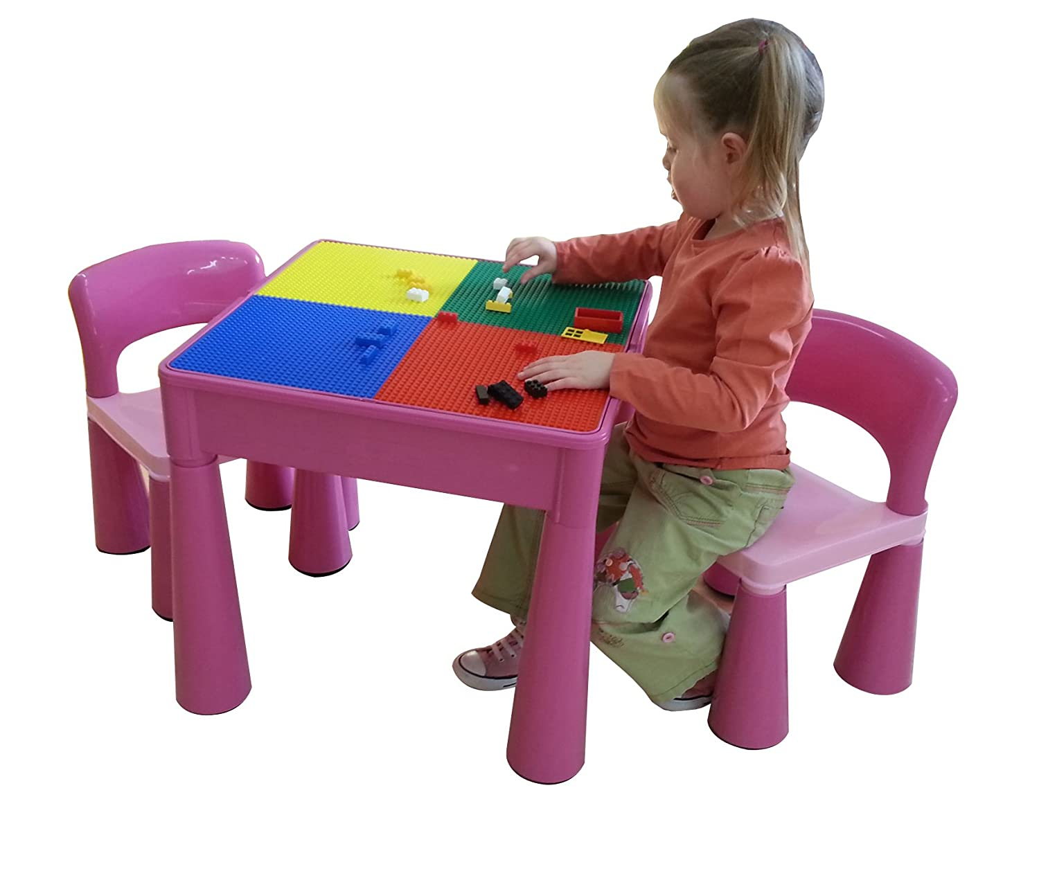Amazon.com: Liberty House Toys Childrenu0027s Multi Purpose Table And Chairs  Set With Construction Board (Pink): Toys U0026 Games