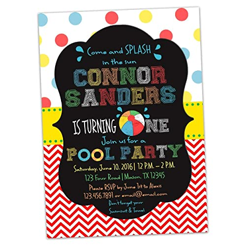 Pool Party 1st Birthday Invitations Beach Ball Invite Chalk