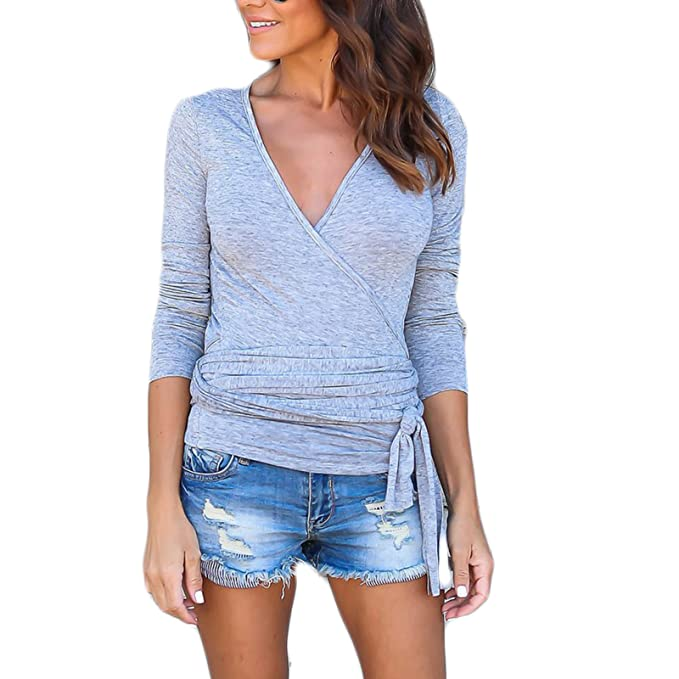 LQKA-EU Mujer Nuevas V Cuello Manga Larga Casual Moda Slim Color Sólido Blusa T-Shirt Camiseta Camisas Tops: Amazon.es: Ropa y accesorios