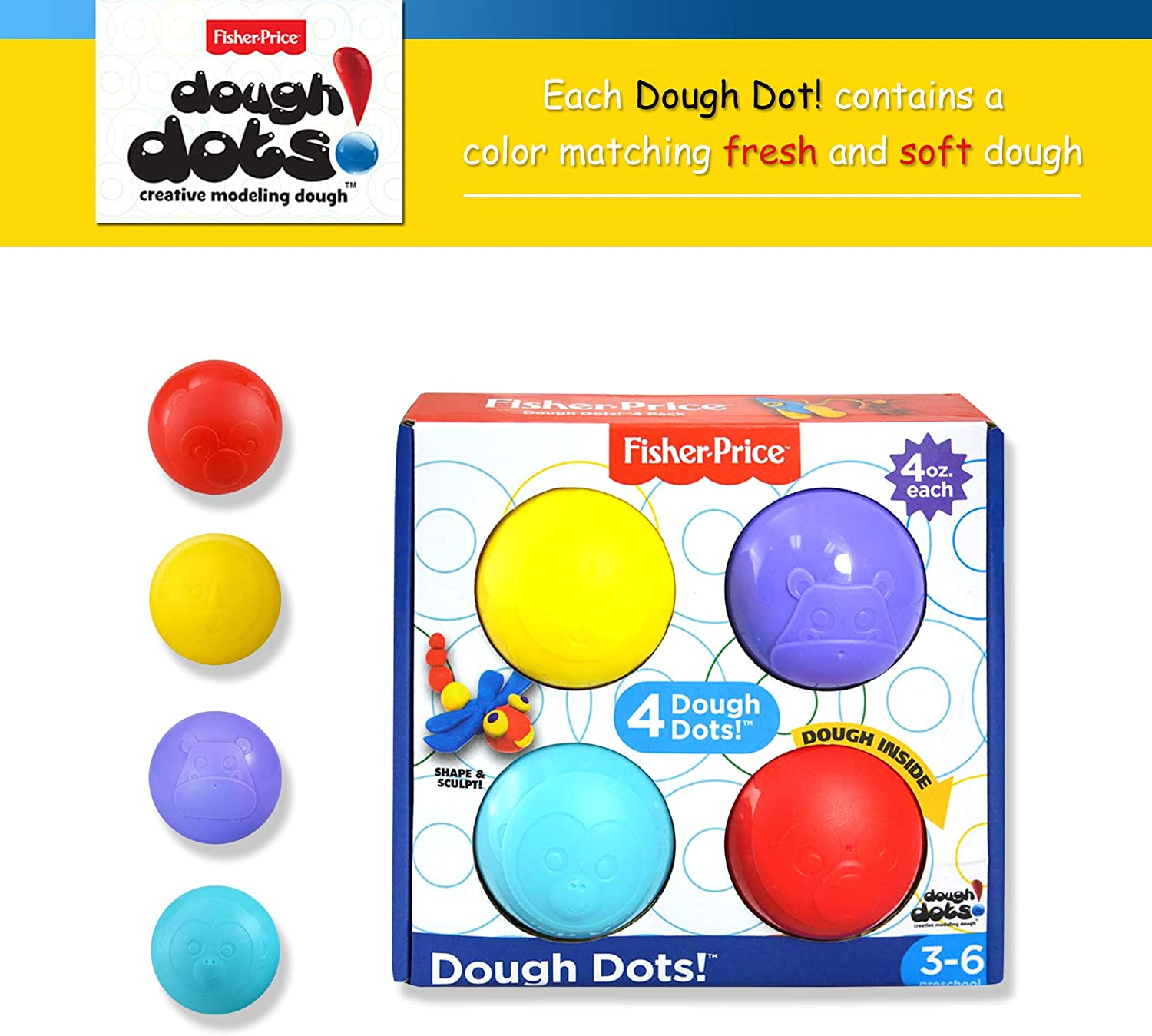 Dots 8-Pack Non-Toxic and Child-Safe Creative Modeling and Play Dough Set 4oz Easy-Open Storage Dots Act as Fun Dough Tools for Stamping and Molding Great Kids Travel Toys Dough Dots