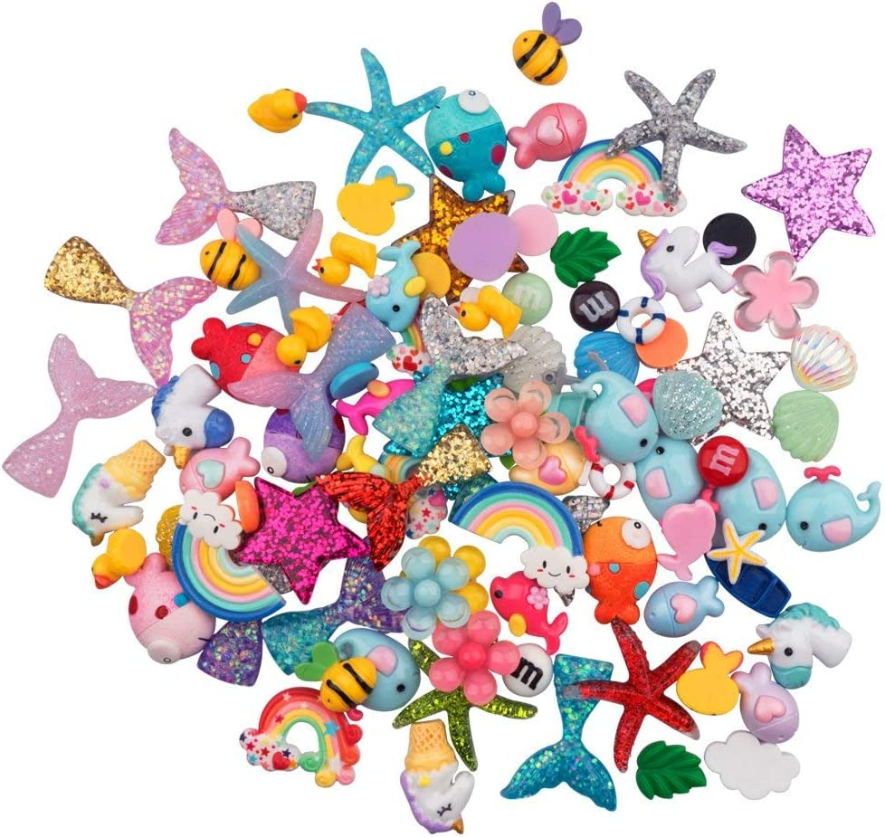 URlighting Slime Charms (100 Pieces) Mixed Mermaid Tail and Rainbow Animals Resin Flatback Slime Beads for Kids and Adults Craft Making, Ornament Scrapbook DIY Crafts
