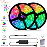 LED Strip Lights Sync to Music, OxyLED 32.8ft 10M 300LED Flexible RGB 5050 Color Changing Rope Lights with Remote…