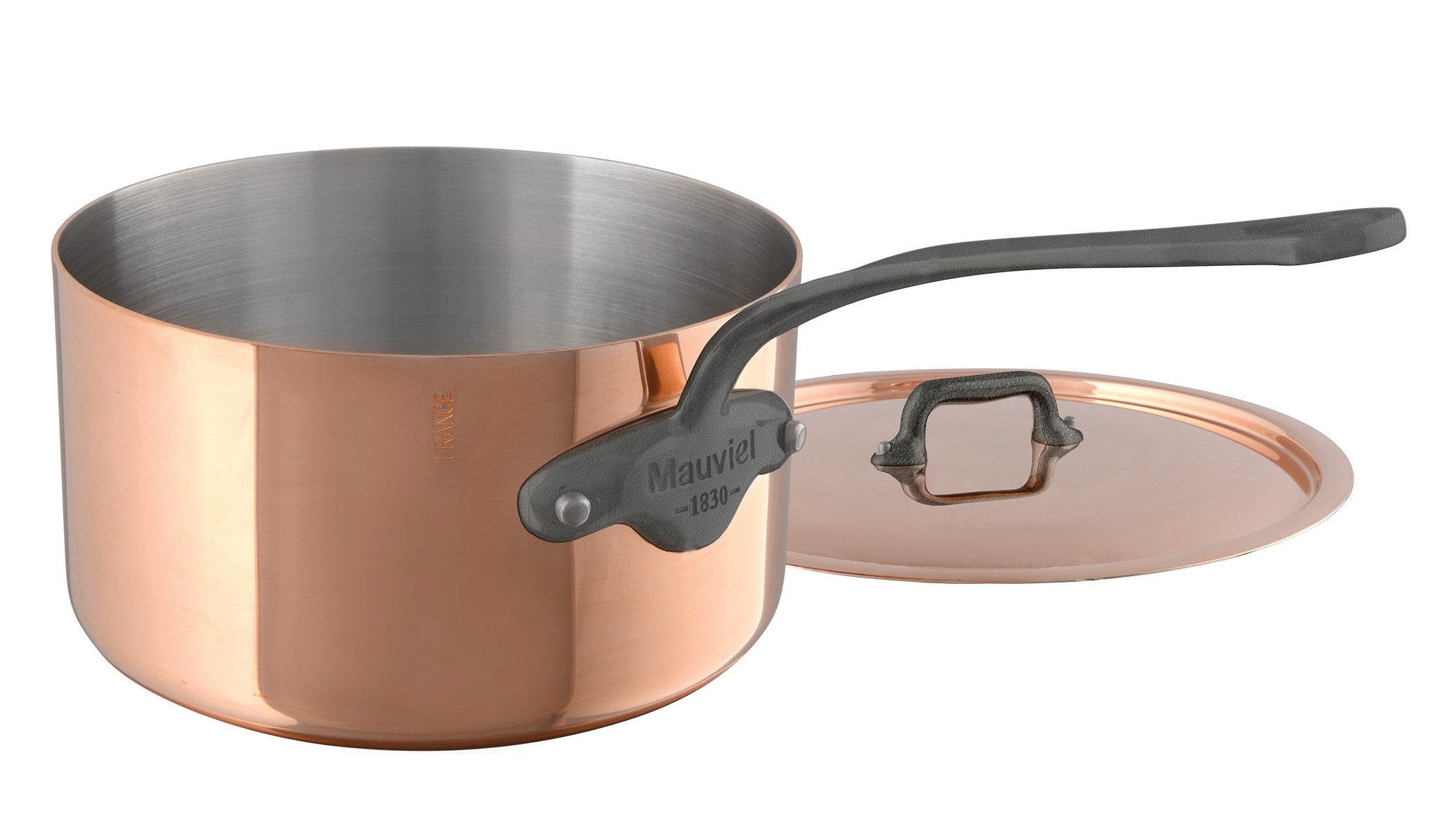 Mauviel M'Heritage M150C 6450.21 Copper Saucepan with Lid. 3.2L/3.1 quart 20cm/8'' with Cast Stainless Steel Iron Eletroplated  Handle