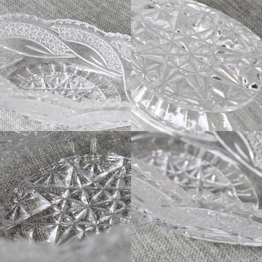 Snack Server Dessert Centerpiece For Home,Office,Wedding Decor Crystal Serving Oval Bowl with Leaf design Fruit