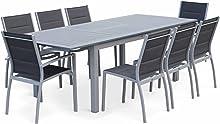 Alice's Garden Salon de Jardin Table Extensible - Chicago Gris - Table en Aluminium 175/245cm avec rallonge et 8 assises en Textilène