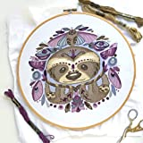 DIY Hand Embroidery Sloths and Moths Large color