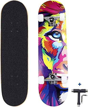 """Details about  /Wood 31/""""x8/"""" Skateboards Complete Double Kick Deck Concave Gift for Kids Teens US"""