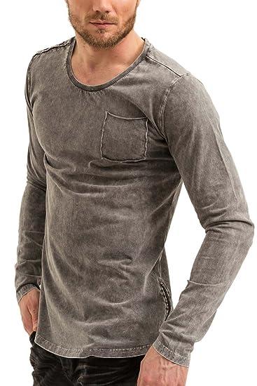 trueprodigy Casual Homme Tee Shirt Manche Longue uni Basique, Vetements  Swag Marque col Rond (Manche Longue   Slim fit Classic), Shirt Mode Fashion  Couleur  ... 45b7c95c30be
